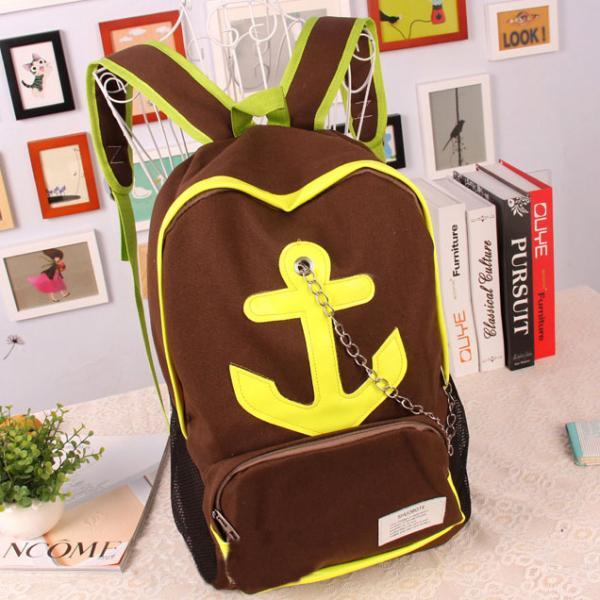 Leisure Candy Color Anchor Print Chain Backpack - Brown