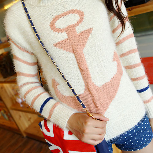 Navy Style Anchor Strip Print Soft Sweater - Pink