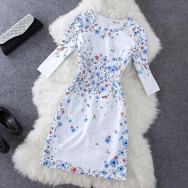 Blue Flower Print Dress GG716D