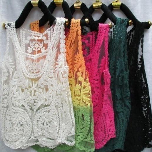 GRADIENT SEXY LACE HOLLOW SMOCK VEST ABAGBJ