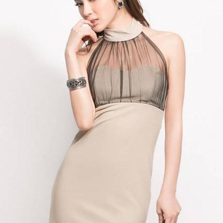 Sexy Gauze Paned Halter Dress For Club - Apricot