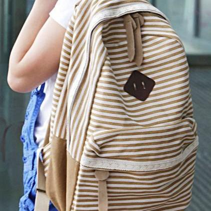 Brown Striped Backpack With Lace