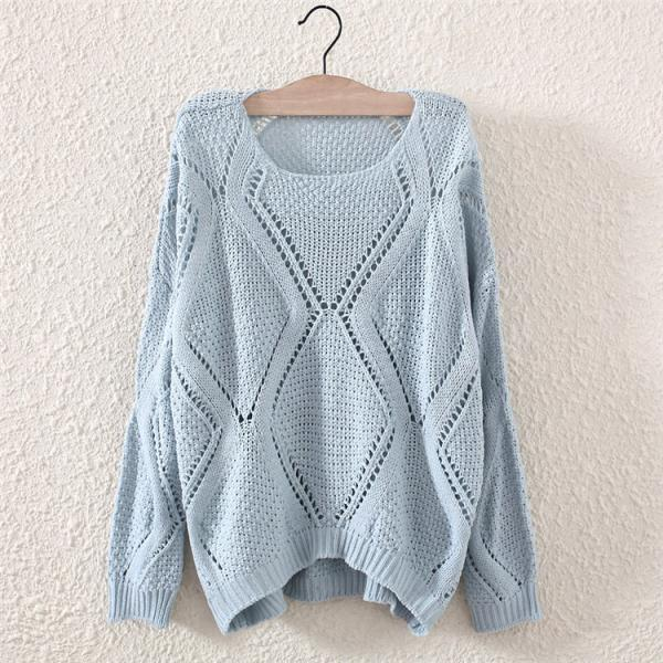 Autumn&Winter O-Neck Hollow Out Long Sleeve Knit Sweater Pullovers