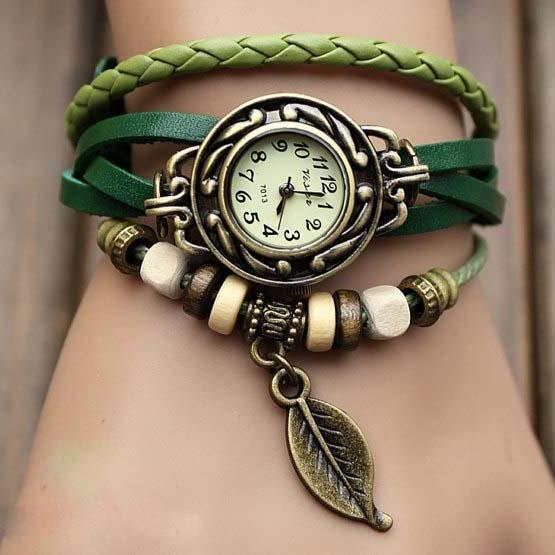 Sexy leather wrap watch, leather band wrist watch, women wrist watches with vintage ,leaf, Leather watch bracelet