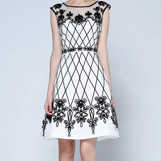 Sexy Embroidered Dress In Black And White
