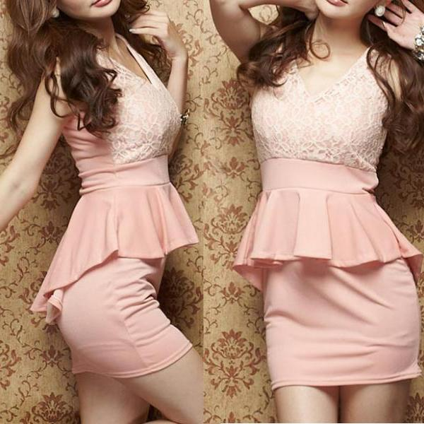 fashion Sexy Lace Stitching Dress