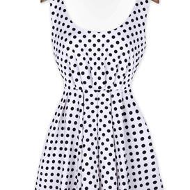 White Sleeveless Polka Dot Dress with Self Tie Ribbon