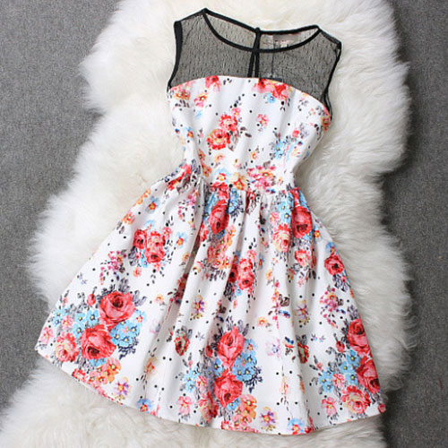 Sexy Floral Print Splicing Sleeveless Mesh Top Flared Skater Dress