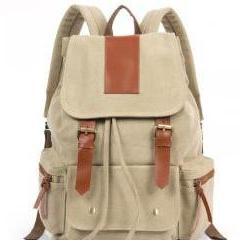 2015 new Fashion Cream Retro With Leather Backpack