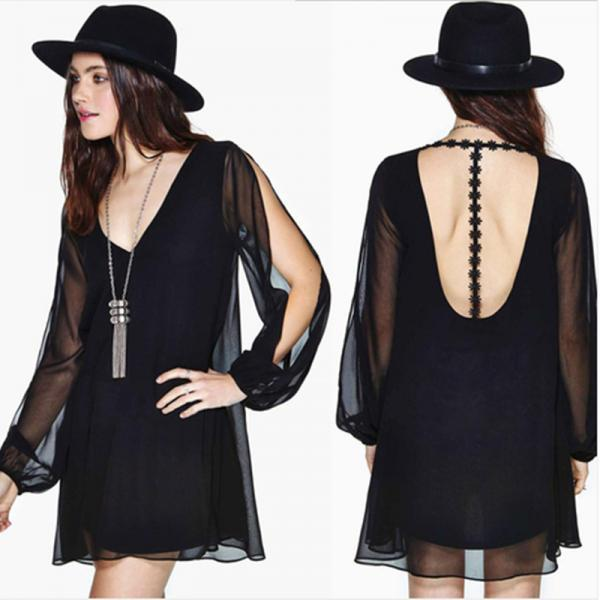 2015 summer Long-Sleeved Double Stitching Dress