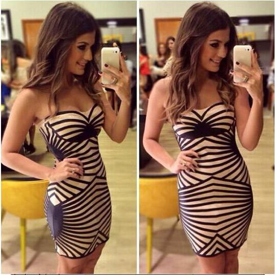 2015 new Sexy Striped Suspenders Sexy Dress
