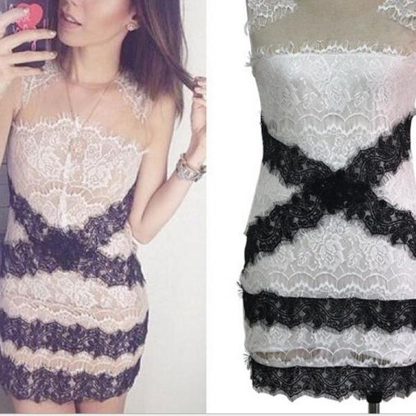 Sexy Lace Mesh Sleeveless Dress for new summer