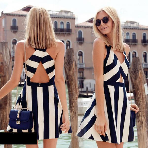2015 New Sexy Back Cross Stitching Stripe Sleeveless Vest Skirt