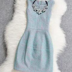 2015 new summer Fashion round neck woolen dress