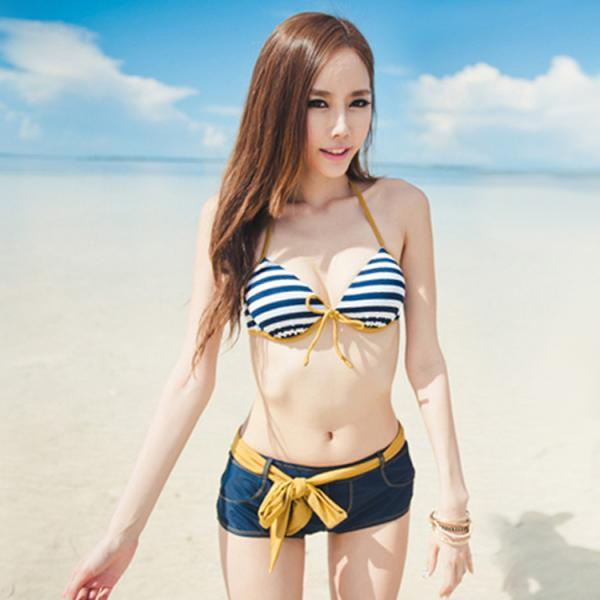 The Navy Wind Boxer Stripe Bikini Three-Piece Bathing Suit