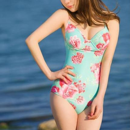 sexy Floral One Piece Swim Suit + Skirt for 2015 women's summer