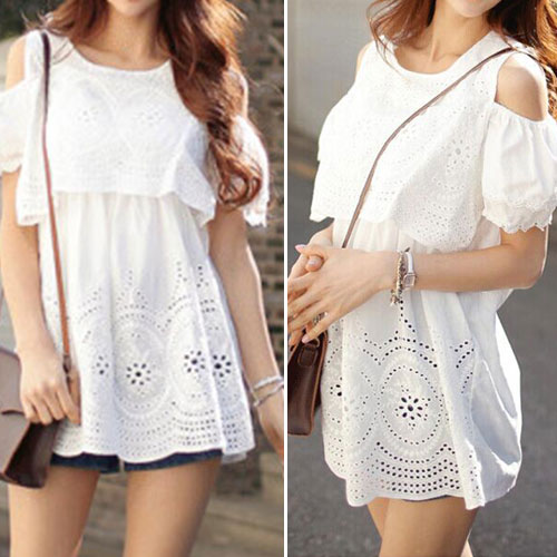 White Cold Shoulder Hollow Out Blouse