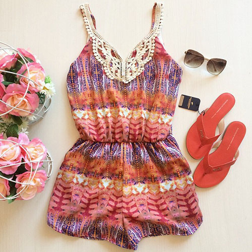 2015 hot summer Fashion V-Neck Floral Print Sling Jumpsuit for women