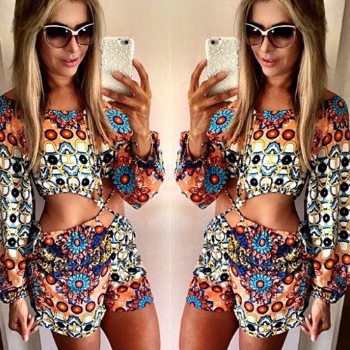 2015 summer Sexy Hollow Out Long Sleeve Floral Print Jumpsuits for women