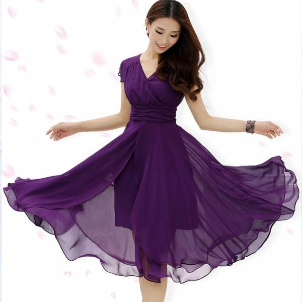 Women's Casual Micro Elastic Short Sleeve chiffon Midi party Dress for 2015 hot summer