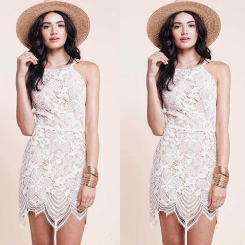 2015 new fashion The New Wave Edge Hollow Halter Straps Lace Dress Swing