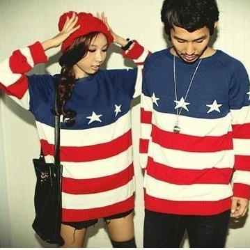 2015 New hot sale Fashion American Flag Printed Sweater For Lovers
