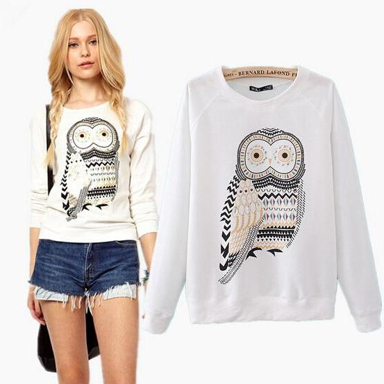 2015 New hot sale Fashion Rhinestone Owl Printed Sleeve Sweater for women