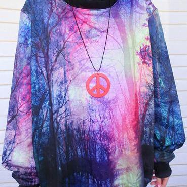 2015 New Fashion Universe Star Graffiti Gradient Sleeve Sweater