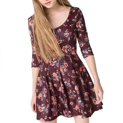 Hot sale Floral Print Scoop Half Sleeves Mini Skater Dress for women