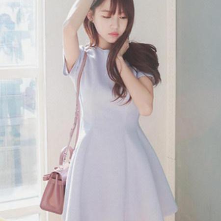 2015 hot sale Small Fresh Summer New Round Neck Dress for women