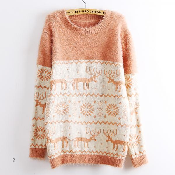Hot sale Deer Snowflake Round Neck Sweater For Women