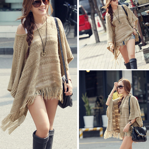 Hot sale Chic Tassels Bat Sleeve Hollow Out Knitting Cloak