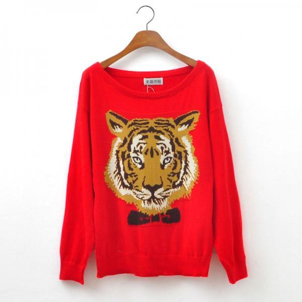 Hot sale Cool Sleeve Sweater With Red Tiger Head