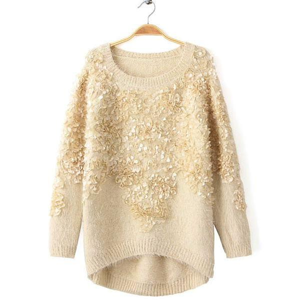Hot sale Fashion Cream Decorative Flower Sweater for women