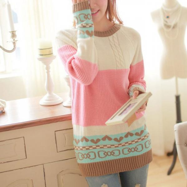 Fashion Love Mixed Colors Bow Printed Sweater&Cardigant for women