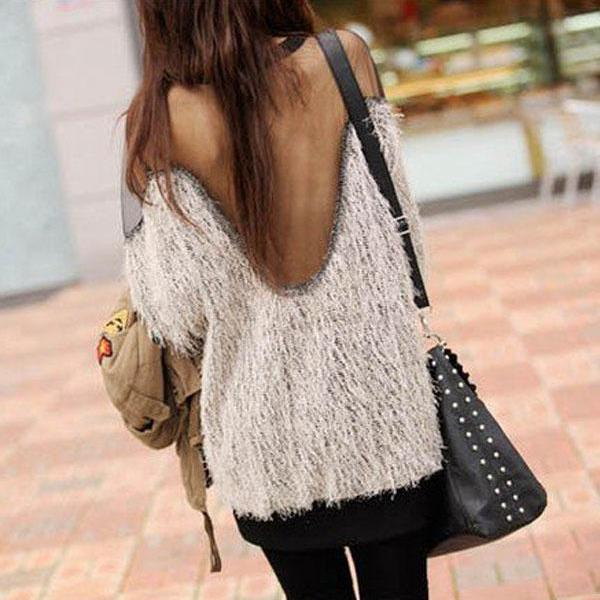 Hot sale Sexy Mesh Splicing Halter Strapless Sweater for women