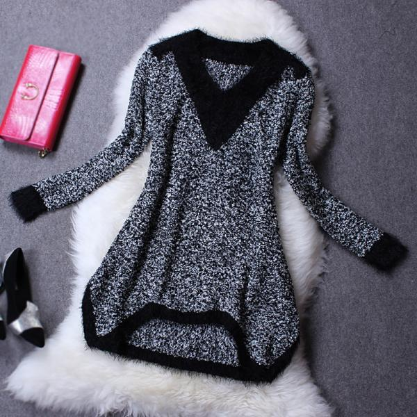 Hot sale Slim Slim Long Sleeve Wool Dress for women