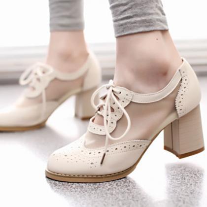 Cutout Mesh Block Heel Lace Up Oxford Shoes HU4VM8HU9G31TOXFQQRDM G8GDRUPUYAQ