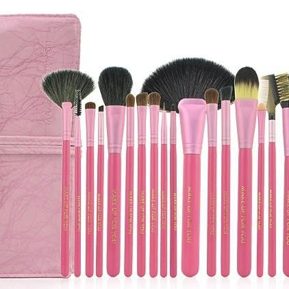 High Quality Goat Hair 20 Pcs/Set Cosmetic Makeup Brushes Set With Leather Bag Kit - Pink
