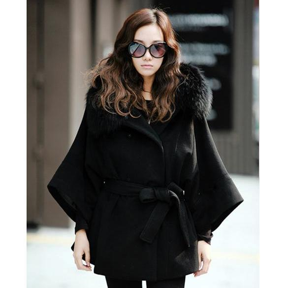 Double Breasted Batwing Sleeves Hooded Coat