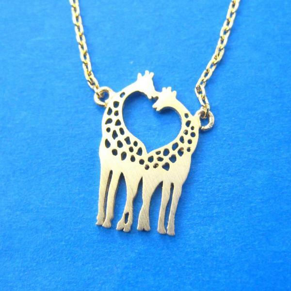 cute small Giraffe Family Silhouette Shaped Charm Necklace