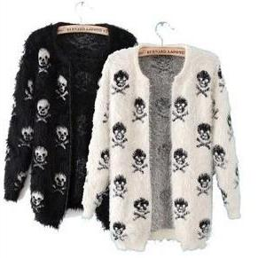 Skull Pattern Haimao Cardigan Sweater