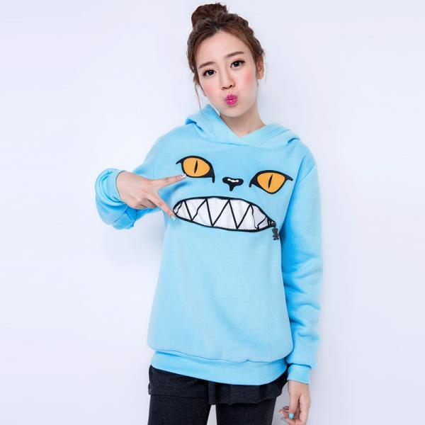 2015 new Free shipping Hooded Zippered Cat Fleece Sweatshirt Sweater for women