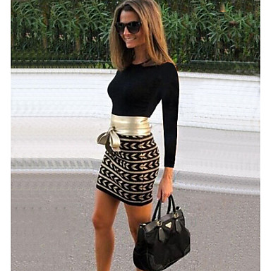 2016 Women's Sexy Print / Patchwork Black Dress Bodycon Round Neck Long Sleeve