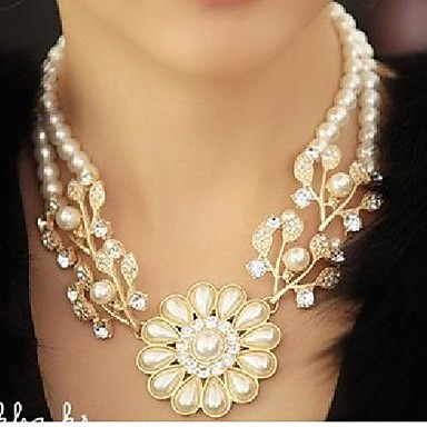 New Women's Diamond Pearl Floral Necklace for 2016 Valentine's Day and mother's Day
