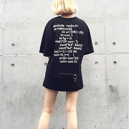 Unisex Harajuku zipper letters printed summer short sleeve T-shirts tops