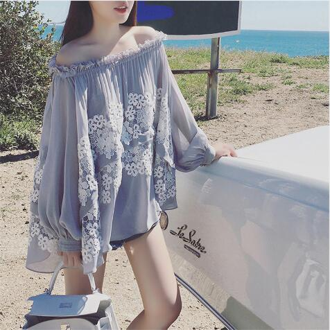 Women Loose Chiffon Lace Off Shoulder Long Sleeve Soft Blouse Shirt Tops