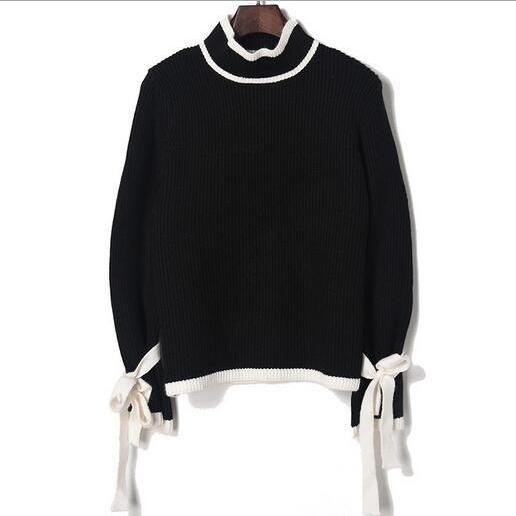Knitted Mock Neck Long Puffed Sleeves with Ribbon Accent Sweater