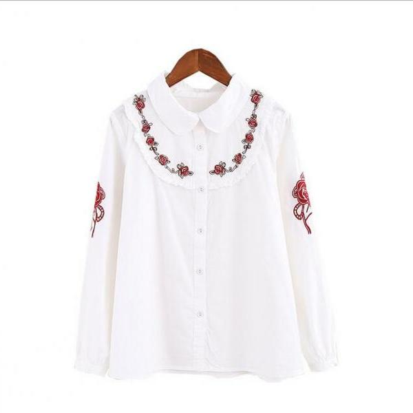 Flower embroidery long sleeve shirt blouse