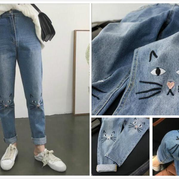 Free shipping embroidery cat high waist jeans #401